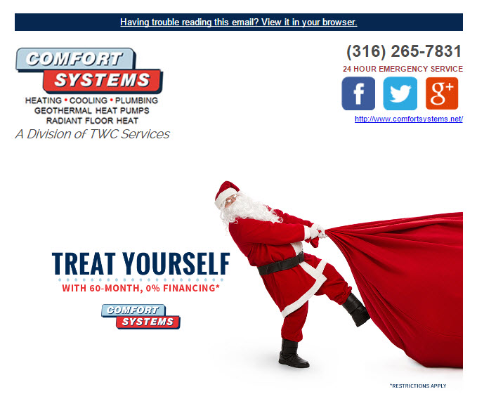 Comfort Systems wants to keep you warm and toasty this winter so treat yourself to a new heating and cooling system. Enjoy the flexibility of equal monthly payments and up to 60-month financing when you buy one of our select quality Lennox products.